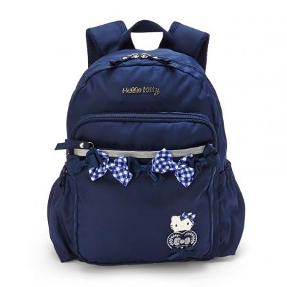 小禮堂 Hello Kitty 尼龍雙層後背包 防潑水後背包 休閒背包 書包 10L (深藍 緞帶)