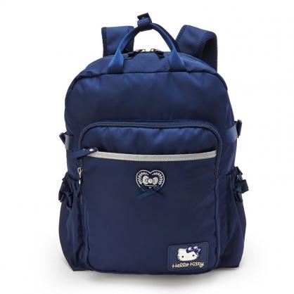 小禮堂 Hello Kitty 尼龍雙層後背包 防潑水後背包 休閒背包 書包 14L (深藍 緞帶)