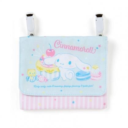 小禮堂 大耳狗 日製 帆布夾式口袋包 帆布收納包 腰包 零錢包 口罩包 (粉藍 甜點)