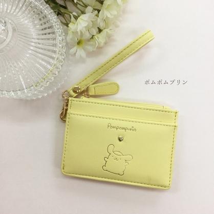 小禮堂 布丁狗 皮質票卡零錢包 腕繩零錢包 票卡夾 證件夾 小物包 (黃 金屬扣)
