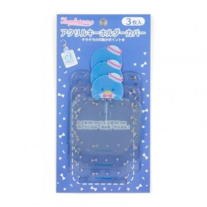 小禮堂 山姆企鵝 造型透明吊飾保護套組 鑰匙收納套 鑰匙圈套 (3入 藍 演唱會粉絲收納)