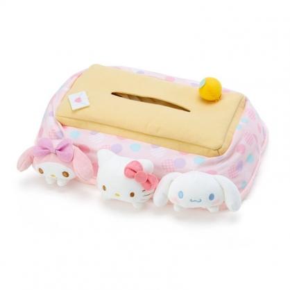 小禮堂 Sanrio大集合 造型絨毛面紙套 面紙盒 衛生紙套 紙巾套 (粉 暖桌)