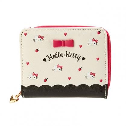 小禮堂 Hello Kitty 皮質拉鍊短夾 魔鬼氈短夾 短皮夾 皮質零錢包 (米 愛心)