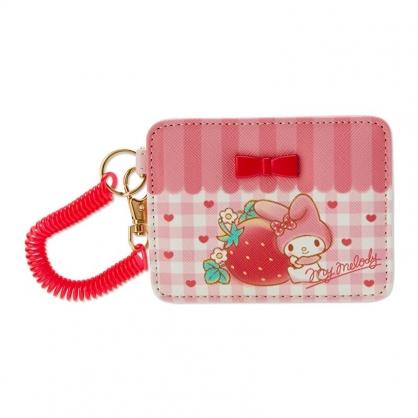 小禮堂 美樂蒂 皮質彈簧票卡夾 腕繩票卡夾 證件夾 車票夾 (粉 格紋)