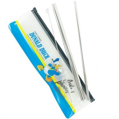 小禮堂 迪士尼 唐老鴨 不鏽鋼直吸管組 附收納袋 粗吸管 細吸管 環保吸管 (藍 走路)