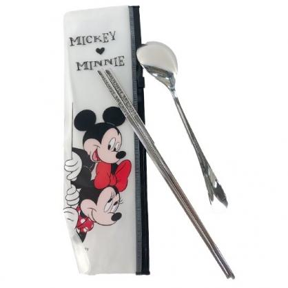 小禮堂 迪士尼 米奇米妮 兩件式不鏽鋼餐具組 附餐具袋 匙筷 兒童餐具 環保餐具 (白 探頭)