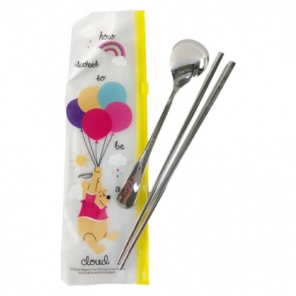 小禮堂 迪士尼 小熊維尼 兩件式不鏽鋼餐具組 附餐具袋 匙筷 兒童餐具 環保餐具 (黃 汽球)