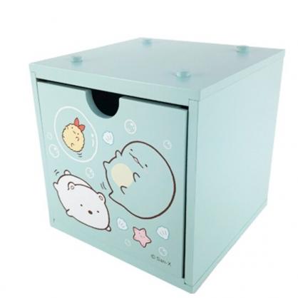 小禮堂 角落生物 桌上型木質積木盒 抽屜盒 文具盒 飾品盒 可堆疊 (綠 泡泡)