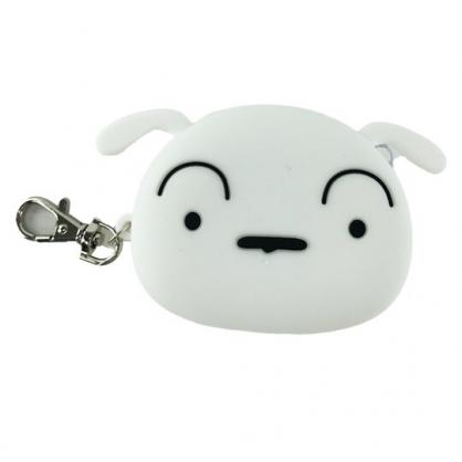小禮堂 蠟筆小新 小白 造型矽膠零錢包 掛飾零錢包 耳機包 小物包 (白 大臉)