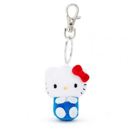 小禮堂 Hello Kitty 造型絨毛伸縮鑰匙圈 易拉扣鑰匙圈 玩偶鑰匙圈 (藍 全身)