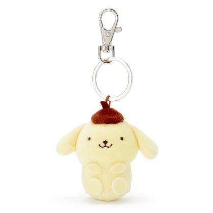 小禮堂 布丁狗 造型絨毛伸縮鑰匙圈 易拉扣鑰匙圈 玩偶鑰匙圈 (黃 全身)