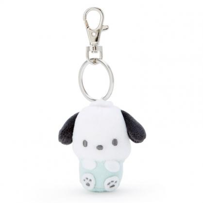 小禮堂 帕恰狗 造型絨毛伸縮鑰匙圈 易拉扣鑰匙圈 玩偶鑰匙圈 (綠 全身)
