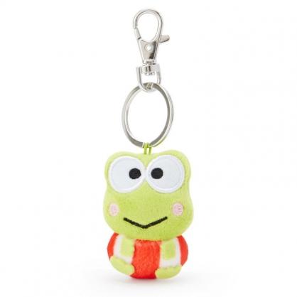 小禮堂 大眼蛙 造型絨毛伸縮鑰匙圈 易拉扣鑰匙圈 玩偶鑰匙圈 (綠 全身)