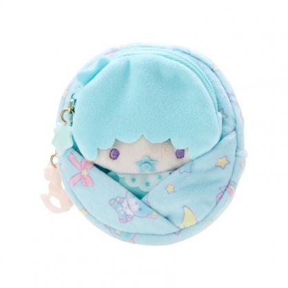 小禮堂 雙子星 Kiki 造型絨毛零錢包組 玩偶零錢包 圓形零錢包 耳機包 (綠 45週年)