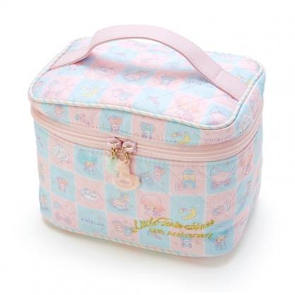 小禮堂 雙子星 厚棉手提化妝包 菱格紋化妝包 盥洗包 化妝箱 (粉藍 45週年)