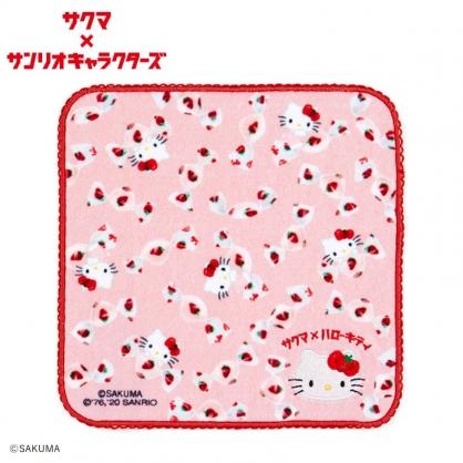小禮堂 Hello Kitty x ??? 純棉割絨方巾 純棉手帕 小毛巾 23x23cm (紅)