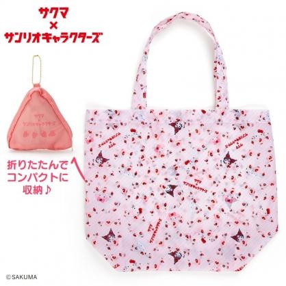 小禮堂 Sanrio x ??? 折疊尼龍環保購物袋 環保袋 側背袋 手提袋 (粉)