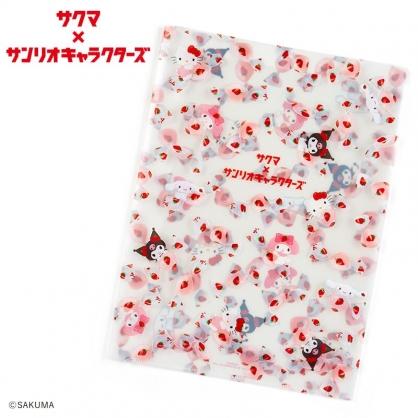 小禮堂 Sanrio x ??? 日製 A4資料夾 透明資料夾 文件夾 檔案夾 L夾 (白)