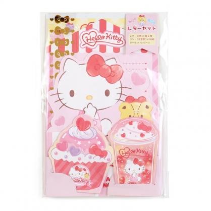 小禮堂 Hello Kitty 日製 豪華信紙組 附貼紙 信封 便條紙 便箋紙 萬用卡片 (紅 甜點)