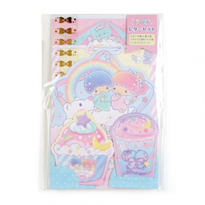 小禮堂 雙子星 日製 豪華信紙組 附貼紙 信封 便條紙 便箋紙 萬用卡片 (藍 甜點)