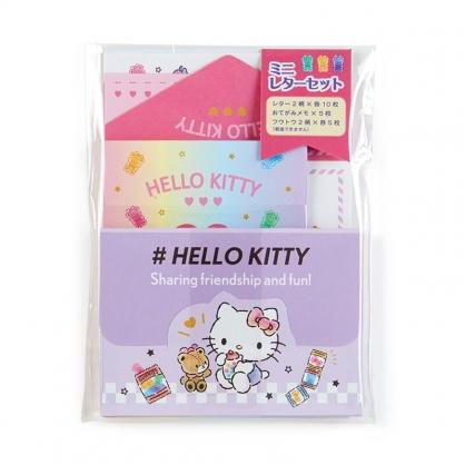 小禮堂 Hello Kitty 日製 迷你信紙組 信封 便條紙 便箋紙 萬用卡片 (紫 糖果)