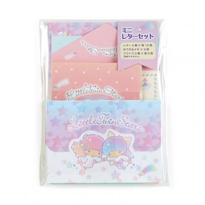 小禮堂 雙子星 日製 迷你信紙組 信封 便條紙 便箋紙 萬用卡片 (紫 星星)