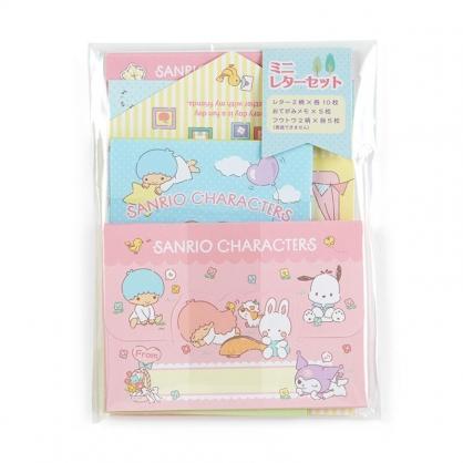 小禮堂 Sanrio大集合 日製 迷你信紙組 信封 便條紙 便箋紙 萬用卡片 (粉 花園)