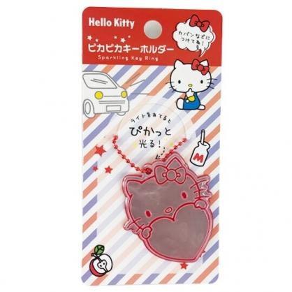 小禮堂 Hello Kitty 造型安全反光吊飾 鐳射光吊飾 反光吊牌 銅板小物 (紅銀 愛心)