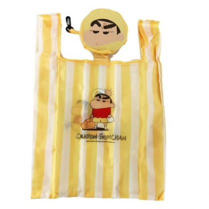 小禮堂 蠟筆小新 折疊尼龍環保購物袋 環保袋 側背袋 手提袋 (黃 大臉)