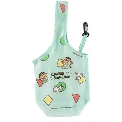 小禮堂 蠟筆小新 環保尼龍水壺袋 環保杯袋 飲料杯袋 (綠 睡衣)