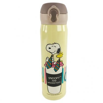 小禮堂 史努比 彈蓋不鏽鋼保溫瓶 不鏽鋼水瓶 兒童水壺 隨身瓶 500ml (黃 領帶)