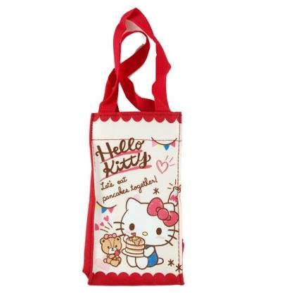 小禮堂 Hello Kitty 方形尼龍保冷水壺袋 保冷杯袋 環保杯袋 飲料杯袋 (米 鬆餅)