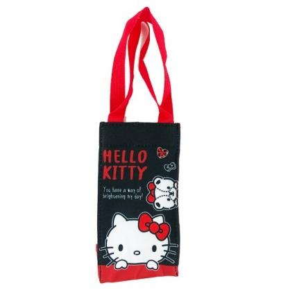 小禮堂 Hello Kitty 方形尼龍保冷水壺袋 保冷杯袋 環保杯袋 飲料杯袋 (黑 大臉)