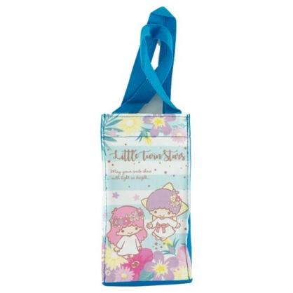 小禮堂 雙子星 方形尼龍保冷水壺袋 保冷杯袋 環保杯袋 飲料杯袋 (藍 橫紋)