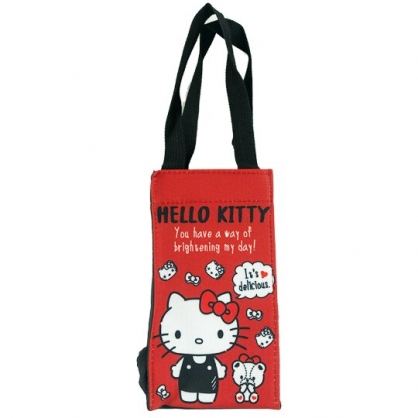 小禮堂 Hello Kitty 方形尼龍保冷水壺袋 保冷杯袋 環保杯袋 飲料杯袋 (紅 小熊)