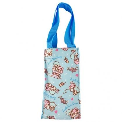 小禮堂 雙子星 方形尼龍保冷水壺袋 保冷杯袋 環保杯袋 飲料杯袋 (藍 滿版)
