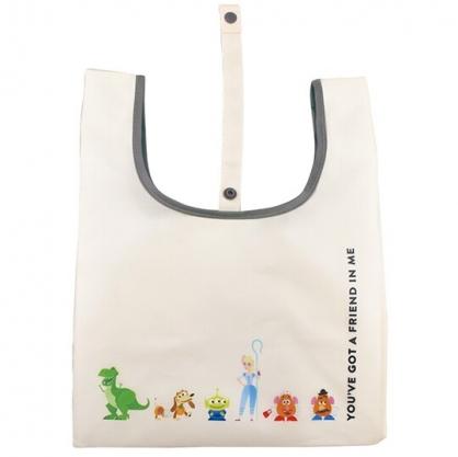 小禮堂 迪士尼  玩具總動員4 折疊尼龍環保購物袋 環保袋 側背袋 手提袋 (米 排站)
