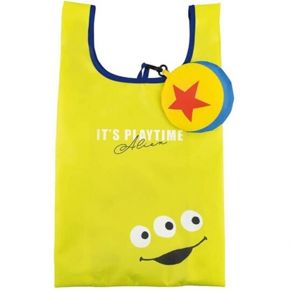 小禮堂 迪士尼  三眼怪 折疊尼龍環保購物袋 環保袋 側背袋 手提袋 (黃 星星)