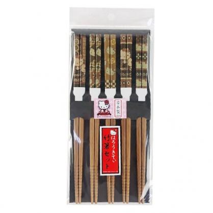 小禮堂 Hello Kitty 日製 天然竹筷組 木筷 成人筷 環保筷 21cm (5入 深木 圖紋)