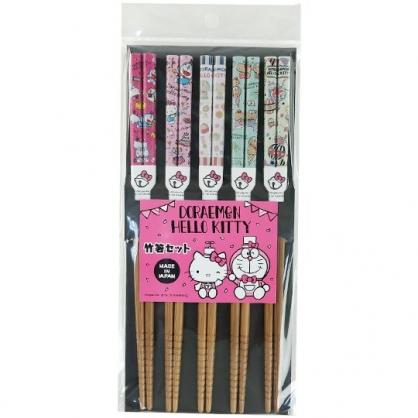 小禮堂 Hello Kitty x 哆啦A夢 日製 天然竹筷組 木筷 成人筷 環保筷 21cm (5入 深木 馬戲團)