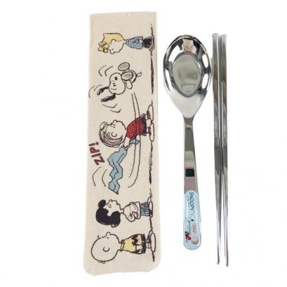 小禮堂 史努比 兩件式不鏽鋼餐具組 附餐具袋 匙筷 兒童餐具 環保餐具 (米 毛毯)