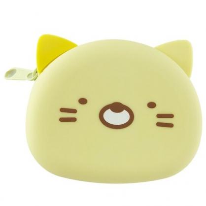 小禮堂 角落生物 貓咪 造型矽膠零錢包 防水零錢包 耳機包 小物包 (黃 大臉)