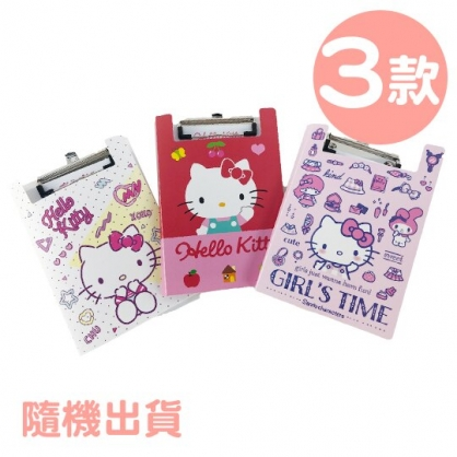 小禮堂 Hello Kitty B5塑膠文件夾板 附便條紙 B5板夾 資料板夾 菜單夾 (3款隨機)