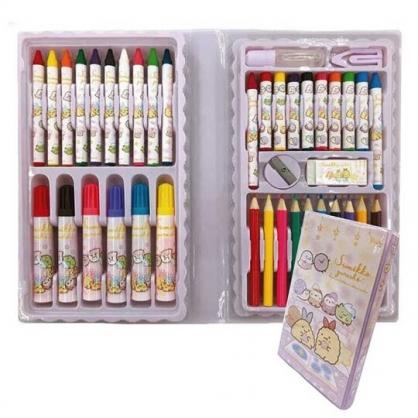 小禮堂 角落生物 盒裝繪畫工具組 附削筆器 蠟筆 色鉛筆 彩色筆 (粉 睡衣)