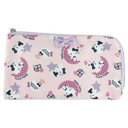 小禮堂 Hello Kitty 尼龍口罩包 附口罩 口罩夾 口罩套 小物包 (粉紫 滿版)