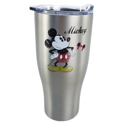 小禮堂 迪士尼 米奇 不鏽鋼真空酷涼杯 冰霸杯 隨行杯 保冰杯 900ml (銀 撐腰)