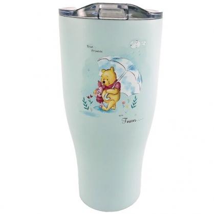 小禮堂 迪士尼 小熊維尼 不鏽鋼真空酷涼杯 冰霸杯 隨行杯 保冰杯 900ml (綠 撐傘)