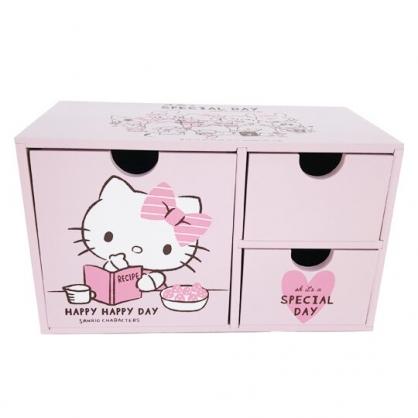 小禮堂 Hello Kitty 橫式木質三抽收納盒 抽屜盒 文具盒 桌上型收納盒 (粉 看書)