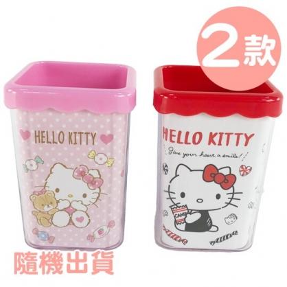 小禮堂 Hello Kitty 方形塑膠筆筒 刷具筒 文具筒 收納筒 小物收納 (2款隨機)