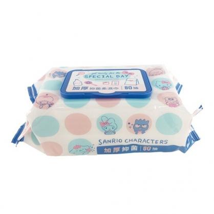小禮堂 Sanrio大集合 80抽加厚濕紙巾包 附蓋 抑菌濕紙巾 柔濕巾 (藍 點點)